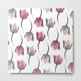 Metallic & Pink Tulips Metal Print