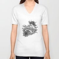 frog V-neck T-shirts featuring Frog by Corinne Elyse