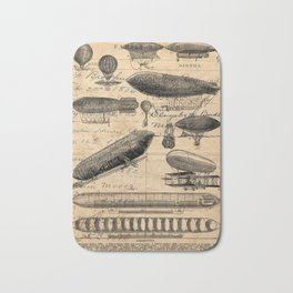 Vintage Hot Air Balloon Study Bath Mat