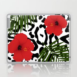 Red hibiscus and palm leaves seamless pattern Laptop & iPad Skin