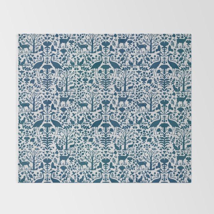 Folk Art Pattern Blue Teal On Gray Throw Blanket