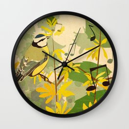 Blue Tit in Spring Wall Clock