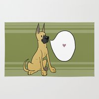 great dane Area & Throw Rugs featuring DOG DAYS: GREAT DANE (FAWN) by TheHappyDog