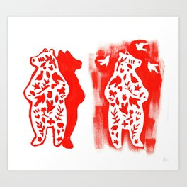 Red Bear  Art Print