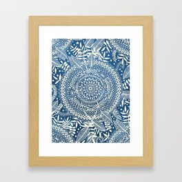Diamond and Doodle Mandala On Blue Framed Art Print