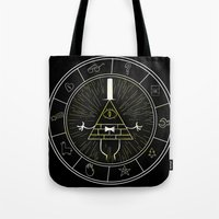 bill cipher Tote Bags featuring BILL CIPHER  by Danger Child