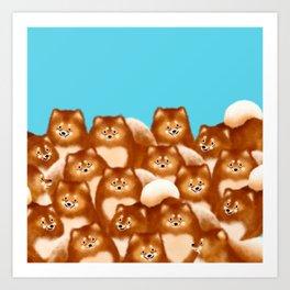 Pomeranians (Blue Background) Art Print