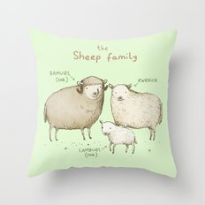 The Sheep Family Throw Pillow