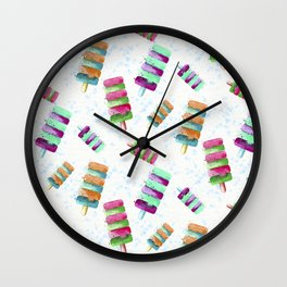 Popsicle Ice cream Watercolor Wall Clock