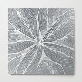 Doodled Aura-Leah DM02 Silver Gray Metal Print