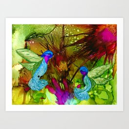 Joy Hummingbirds in Flight Art Print