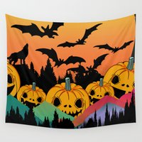 halloween Wall Tapestries featuring Halloween by mark ashkenazi