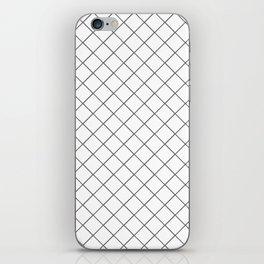 Pantone Pewter Gray Thin Line Stripe Grid (Pinstripe Pattern) on White iPhone Skin