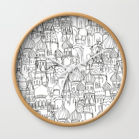 Line Drawing Clock : Russian cathedral church line drawing wall clock by color