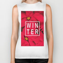 Beautiful Winter Typography and Poinsettias Biker Tank