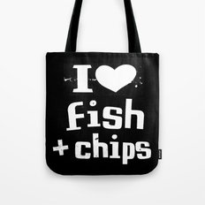 I Heart Fish and Chips - Black Tote Bag