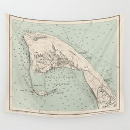Vintage Map of Provincetown MA (1892) Wall Tapestry