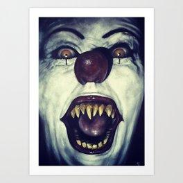 evil clown Art Print