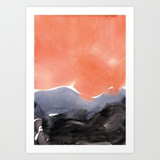 orange blue graphite Art Print
