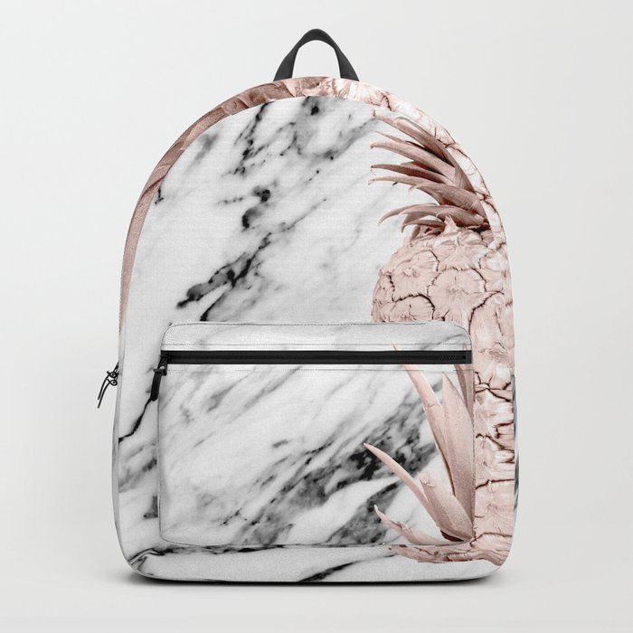 Rose Gold Pineapple on Black and White Marble Backpack