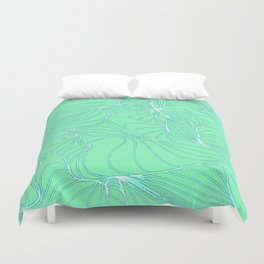 Curves in Mint & Turquoise Duvet Cover