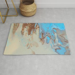 Fluid Art Acrylic Painting, Pour 27, Brown, Tan & Blue Blended Color Rug