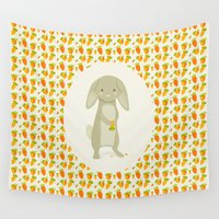 rabbit Wall Tapestries featuring Rabbit by Jane Mathieu