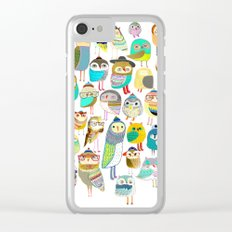 Owls. owl illustration, owl art, owl decor, pattern, art, design, animal, nature, kids, children, Clear iPhone Case