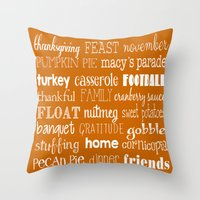 thanksgiving Throw Pillows featuring Thanksgiving Celebration by Tiffany Dawn Smith