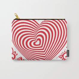 red white heart on red floral ornament background. Optical illusion of 3D Carry-All Pouch