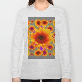 Decorative Grey Golden Yellow Sunflowers Purple Abstract Long Sleeve T-shirt