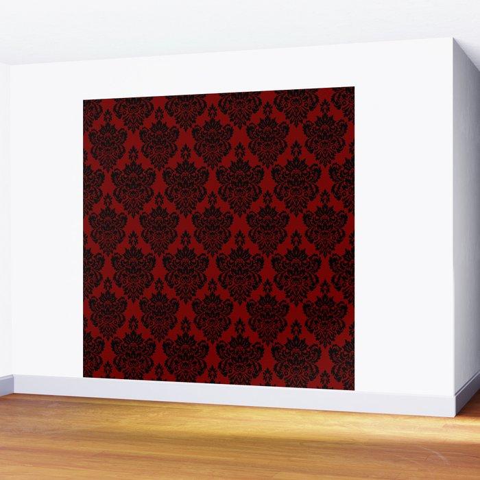 Crimson Damask Wall Mural
