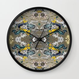 Passion Flower Baroque in Gold Yellow Grey Wall Clock