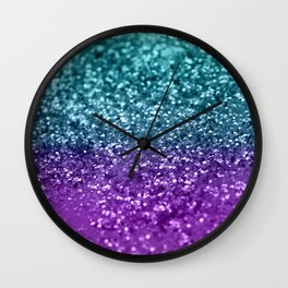 Purple Teal MERMAID Girls Glitter #1 #shiny #decor #art #society6 Wall Clock