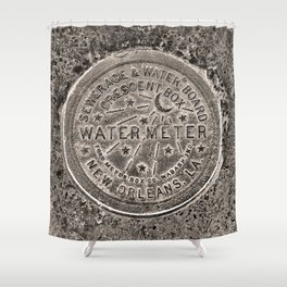 Sepia New Orleans Water Meter Louisiana Crescent City NOLA Water Board Metalwork Shower Curtain