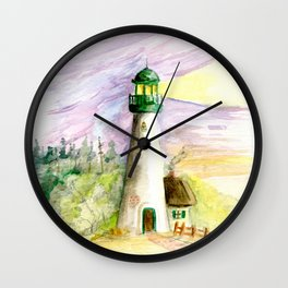 Lighthouse At Dusk Wall Clock