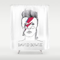cactei Shower Curtains featuring Bowie by ☿ cactei ☿