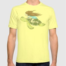 The Girl and the Turtle SMALL Lemon Mens Fitted Tee