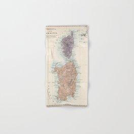Vintage Corsica and Sardinia Map (1865) Hand & Bath Towel