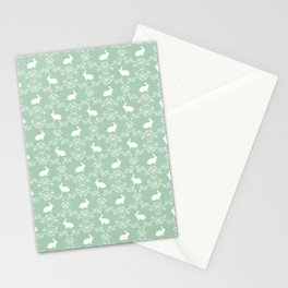 Rabbit pet silhouette floral rabbits bunny gifts cute minimal pets mint Stationery Cards