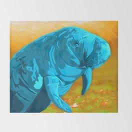 Painted Manatee artwork Throw Blanket