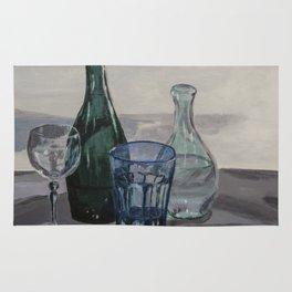 Bottles, glasses, still life with wine glass Rug
