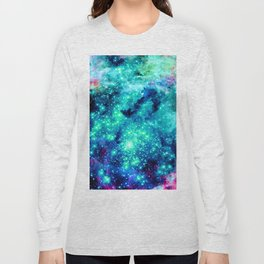Colorful Teal Galaxy Sparkle Stars Long Sleeve T-shirt