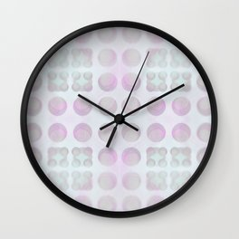 Abstract array of dots in cheerful pastels arranged in an infinitely repeating pattern. Wall Clock