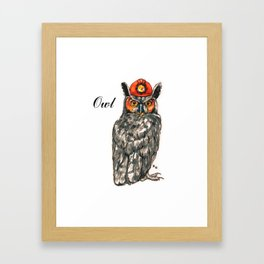 Owl in a helmet Framed Art Print