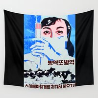 korean Wall Tapestries featuring  preventive veterinarian system north Korean propaganda by Sofia Youshi