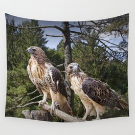 Pair of Red-tail Hawks Wall Tapestry