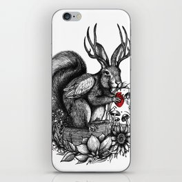 Wolpertinger Jackalope Black and White Illustration iPhone Skin