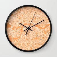 london map Wall Clocks featuring London Map by chiams