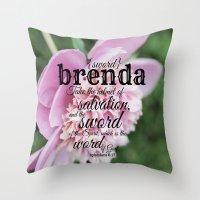 scripture Throw Pillows featuring Brenda scripture by KimberosePhotography
